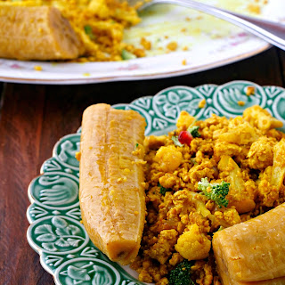 Green Plantains with Scrambled Veggie Tofu