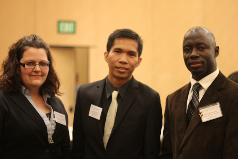 Photo: with the delegate of Slovakia from Humboldt State University and delegate of France from Utah Valley University