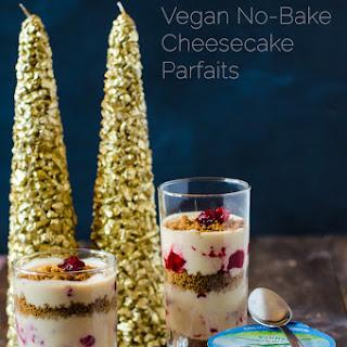 Vegan No-Bake Cheesecake Parfait with Cranberry Swirl