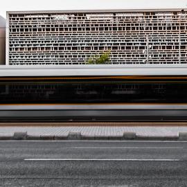 A tram at Avinguda dels Tarongers by Lluna Sanz - Transportation Trains ( afternoon, valencia, urban, university, tram, train )