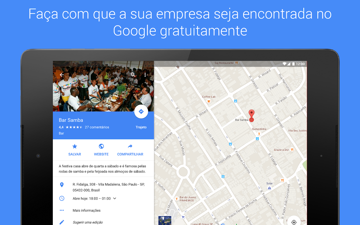 Google My Business– captura de ecrã