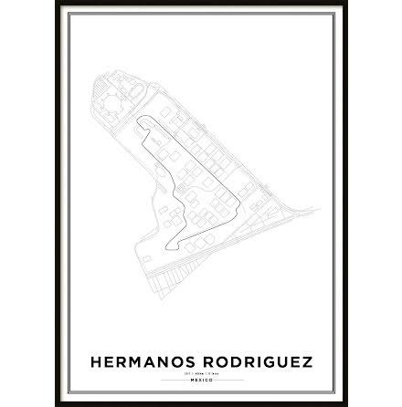 Poster, Autódromo Hermanos Rodríguez Formula 1 Print White