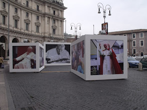 Photo: We were in Rome the same weekend that the old Pope, John Paul II, was being beatified. These large panels were in the Piazza della Repubblica, near our hotel and the train station.