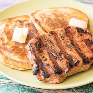 Quick Cream Corn Pancakes with Brown Sugar Pork Chops.