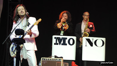 Photo: The Mavericks: guitar and brass section.
