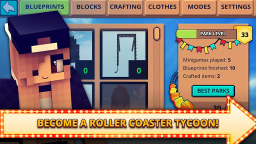 Download Theme Park Craft 2: Build & Ride Roller Coaster on