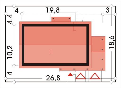 Wojtek wersja C z pojedynczym garażem i wiatą - Sytuacja