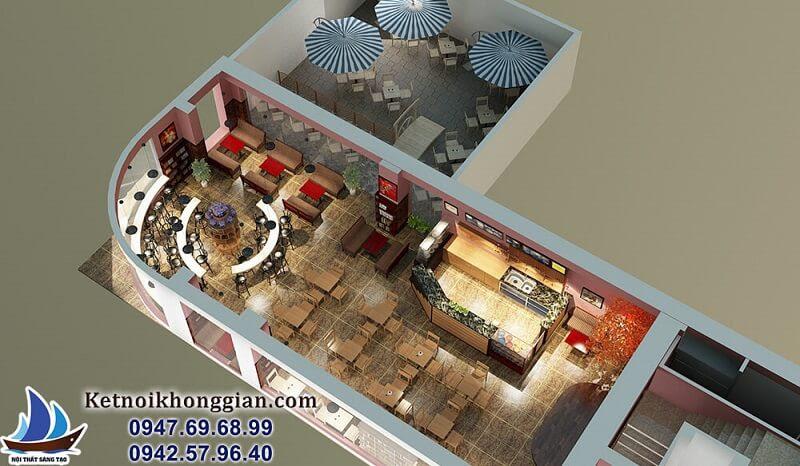 nội thất sáng tạo thiết kế quán cafe sách