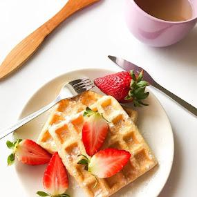 Sweet breakfast  by Alina Dinu - Food & Drink Plated Food ( red, tea, fruit, strawberry, waffles, breakfast, sweet, iphone, food, photography )