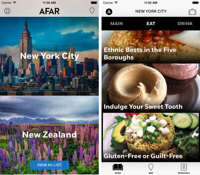 Two mobile app screenshots of the AFAR Travel Guide.