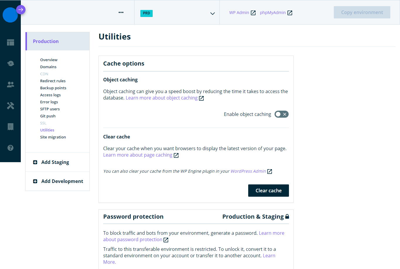 An example of the WP Engine backend. There are several settings.