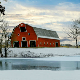 Red Barn by Karen Carter Goforth - Uncategorized All Uncategorized ( red, barn, snow, farm, landscape, building, architecture,  )
