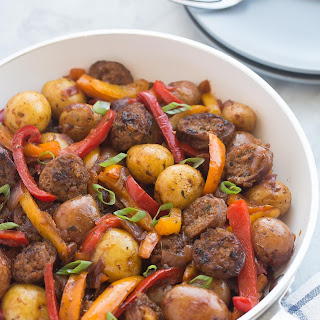 30 Minute BBQ Sausage, Peppers and Potato Skillet