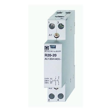 Kontaktorrelä R20-20, 230VAC, 2NO, 20A, brumfritt