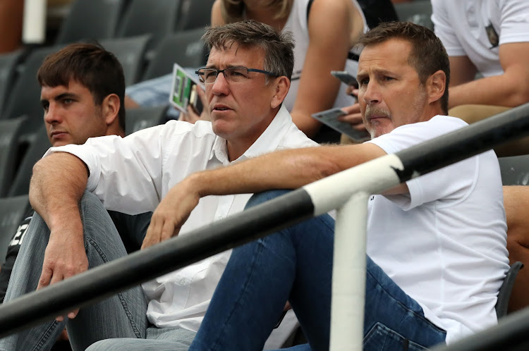 Cell C Sharks CEO Gary Teichmann with head coach Robert du Preez during the Super Rugby match against Southern Kings in Durban on Saturday. Picture: GALLO IMAGES/STEVE HAAG