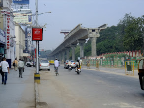 Photo: These elevated highways are being built all over Bangalore. This one is above MG (Mahatma Gandhi) Road.