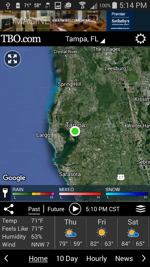 Tampa weather- screenshot