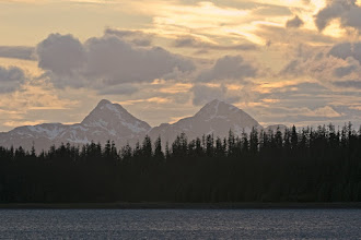 Photo: Twin mountains at sunset; from Glacier Bay NP HQ