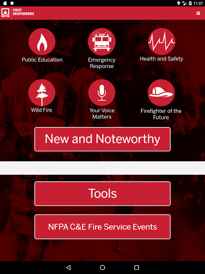 NFPA 1st Responder Connection- screenshot