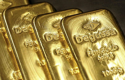 Gold bars are displayed at Degussa shop in Singapore. Picture: REUTERS