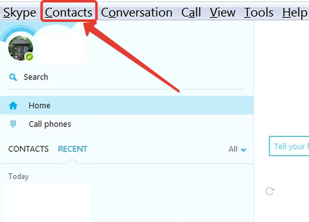 "Go to the ""Contacts"" tab"