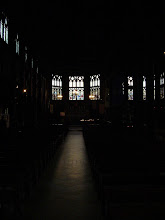 Photo: The church's interior has a double knave, and many wooden statues.