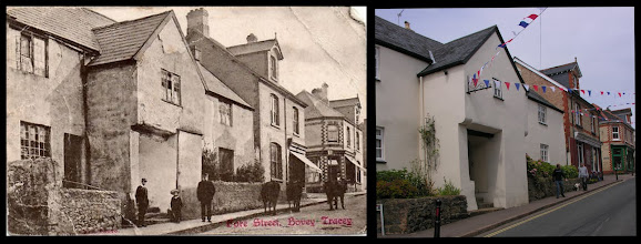 Photo: Fore Street, Bovey Tracey  Left: unknown publisher/date  Right: the main building in the photo is in much better repair now! Interestingly, the upstairs window over the entrance is much smaller now; also a side door (or passageway perhaps?) has been blocked up. Since I have been in the area, the building had been used for several restaurant businesses - generally quite good, but they did not survive.  The shops further up the street remain - but are now charity shops, as is increasingly the case in small town high streets.  Interestingly, the houses have 'lost' their tall chimney stacks.  The bunting in the 'now' photo is the remains of decorations from the 2012 Queen's Diamond Jubilee week-end celebrations.