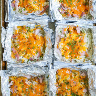 Ham and Cheese Hash Brown Foil Packets.