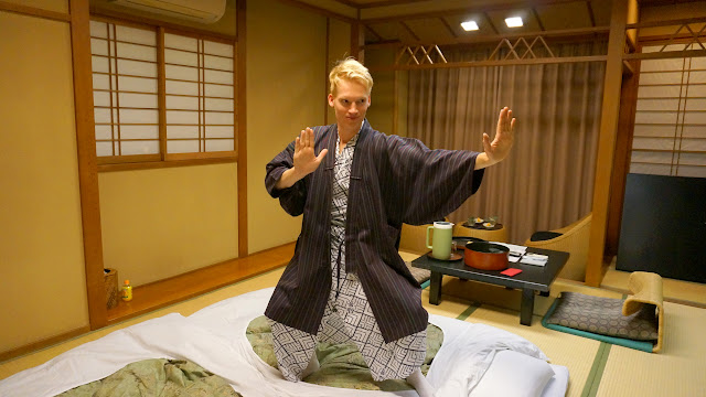 dressed in my Yukata in the $500 Ryokan at Senkei in Yumoto, Hakone in Hakone, Kanagawa, Japan