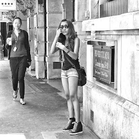 Four Stars by Michael Summers - People Street & Candids ( street, shorts, candid, sunglasses, street photography, black and white, b&w, portrait, people, city, photography )