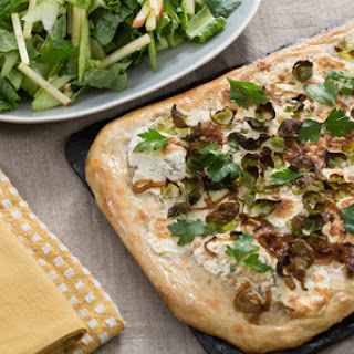Lemon Ricotta & Brussels Sprout Pizza with Caramelized Onion & Waldorf-Style Salad Recipe