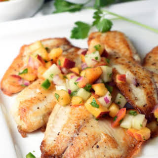 Pan Seared Tilapia with Peach and Cucumber Salsa.