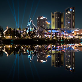 USJ Night Reflections by Jun Robato - City,  Street & Park  Amusement Parks ( night shots, japan, osaka, reflections, universal studios, symmetry )