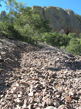 """Photo: This section of """"trail"""" is just a conveyor belt of moving rocks we scrambled up."""