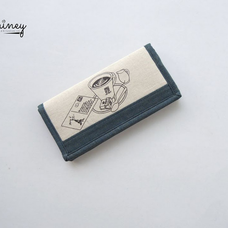 Handmade Long Wallet (Coffee) by Shiney Craft & Zakka 诗绫手作
