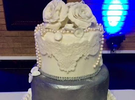 Silver metallic ruffle wedding cake