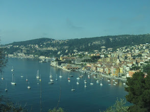 Photo: On our final day we take a train to Cap Ferrat, abode of the rich and famous. This is Villefranche-sur-Mer, snapped from the train window.