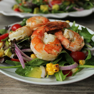 Summer Salad with Avocado, Corn and Grilled Herb Shrimp