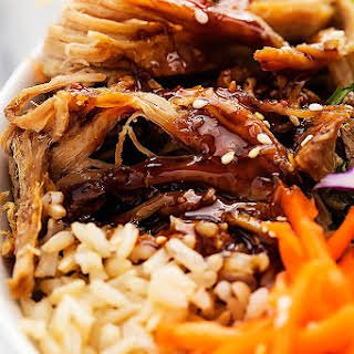 Slow Cooker Luau Pork Rice Bowls.
