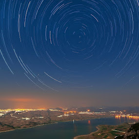 Kozani startrails by Nikos Koutoulas - Landscapes Starscapes ( prosilio, προσήλιο, pwcstars, polifitou, greece, γέφυρα, αστέρια, reflections, lake, landscape, startrails, κοζάνη, πολυφύτου, kozani, sky, stars, ελλάδα, ουρανός, bridge, λίμνη )