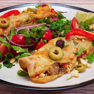 Greek-style Pork Enchiladas with Feta and Peppers