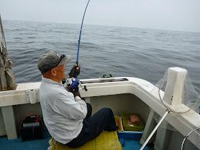 """Photo: 「釣り王」""""イノウエさん""""、今度はメインのウキ流しで!"""