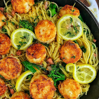 Garlic Scallops With Angel Hair Pasta Recipes.