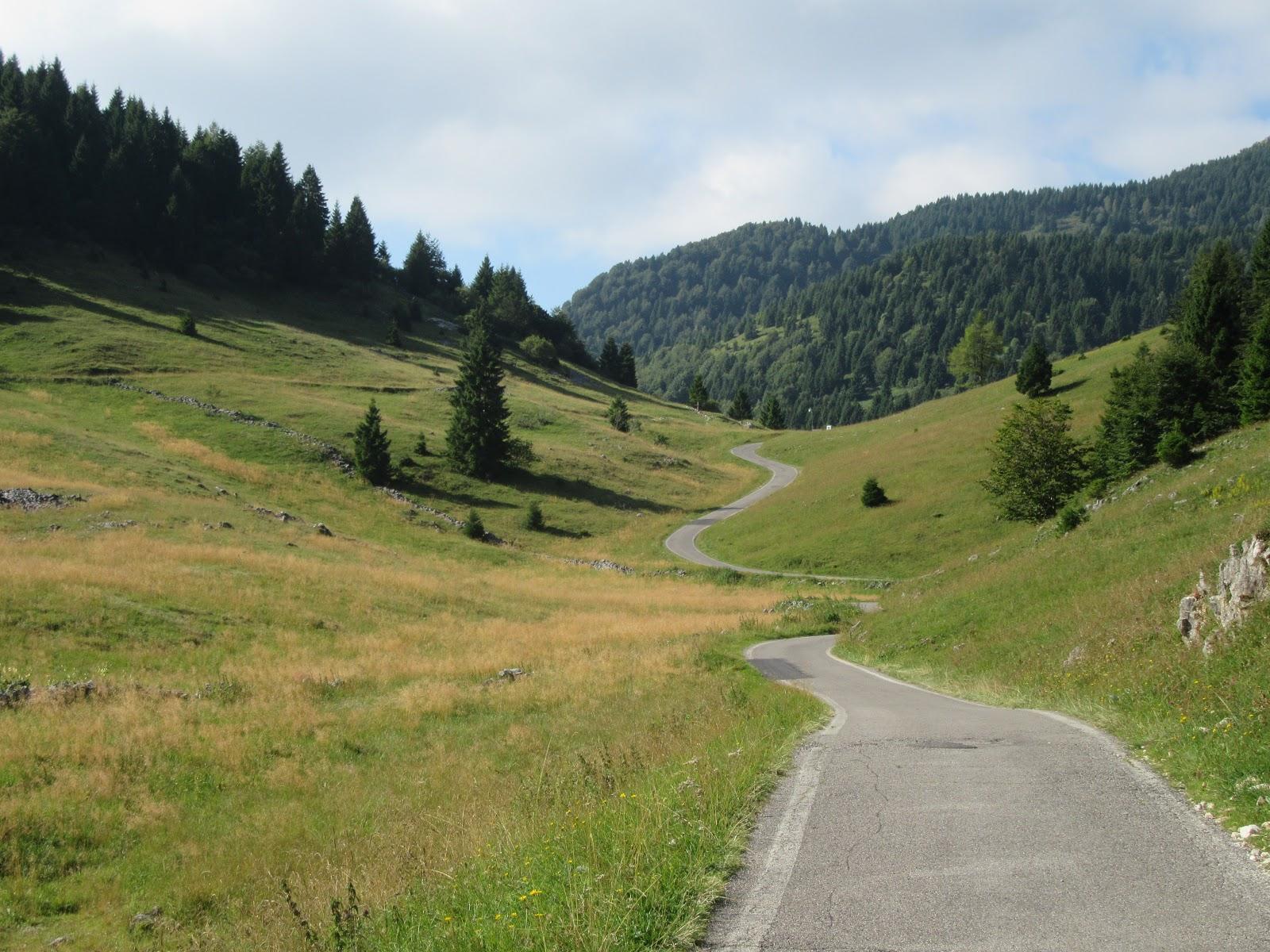 Climbing Monte Grappa - Cavaso del Tomba - roadway and meadow