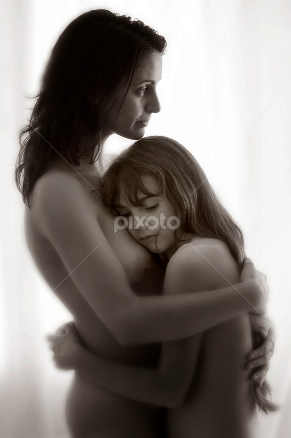 Mother Comforts Daughter by Ian Cartwright - People Maternity ( love, parent, woman, feminine, happy, skin, pensive, pubescent, naked, bathtime, mother, hair, puberty, protect, bare, female, close, bath, parenting, soft, cuddle, thoughtful, intimate, dry, girl, bond, nurture, comfort, single, loving, nude, hug, family, daughter, breast, fun )