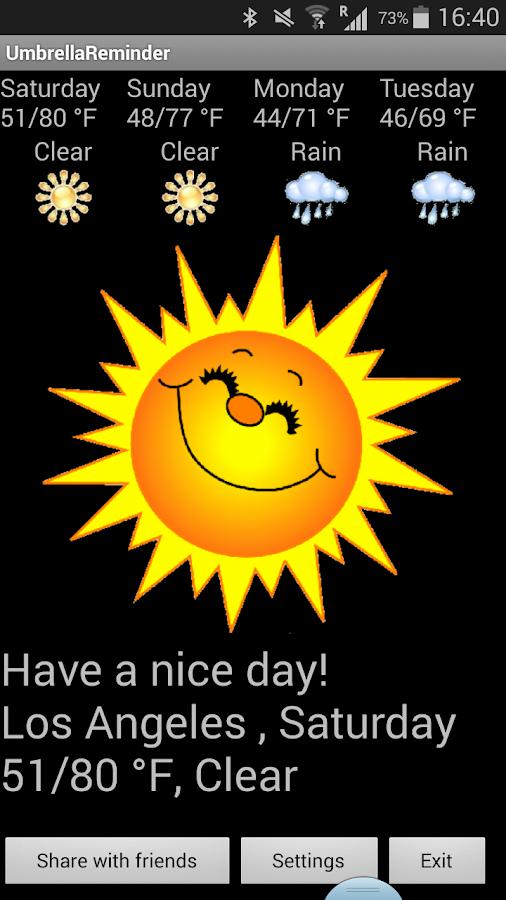 Umbrella Reminder - screenshot