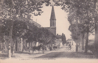 Photo: Orgueil (82) - Entrée du village en venant de Labastide-Saint-Pierre, carte postale non voyagé, la photo est prise au début des années 1900