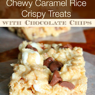 Chewy Caramel Rice Crispy Treats with Chocolate Chips