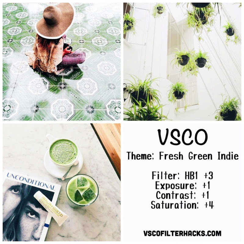 Fresh Green Indie Instagram Feed Using VSCO Filter HB1