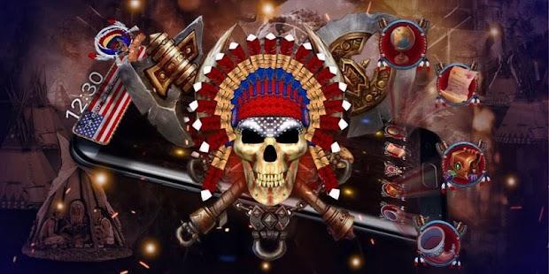 3d Nativ American Skull Theme - náhled
